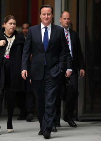 Prime Minister David Cameron leaving the BBC studios in London after an interview for the Today programme this morning.