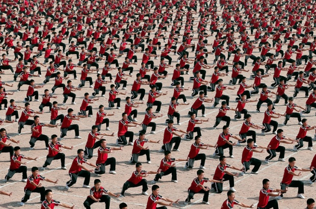 Students train at the Tagou Martial Arts School near the Shaolin Temple on Songshan Mountain in Dengfeng, Henan Province, China.
