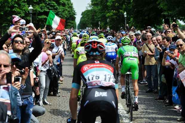 And they're off -the pack pedals at the start of the 17th stage of the Giro d'Italia, the Tour of Italy, in Caravaggio.
