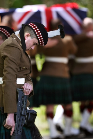 Soldiers at the funeral of Corporal William Savage who died in an explosion in Afghanistan which took place at Glencorse Kirk.