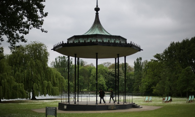 A couple visit Regent's Park bandstand in London. Anthony Downey has today been charged with the 1982 Hyde Park bombing in which four soldiers of the Royal Household Cavalry and seven horses were killed. The second bomb that day killed seven Royal Green Jackets bandsmen who were at the Regent's Park bandstand.