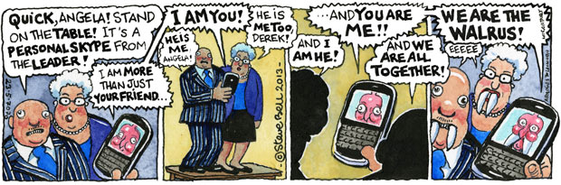 Steve Bell's If … David Cameron contacts the party faithful