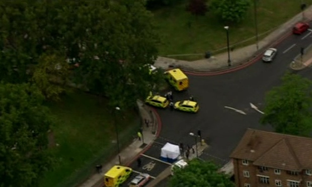 A screengrab of an incident in Woolwich, London, where that has left one person dead and two injured. Follow events in our liveblog.