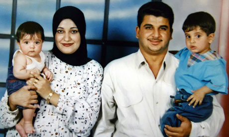 Baha Mousa pictured with his wife and children