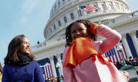 Sasha and Malia Obama at the 2009 inauguration
