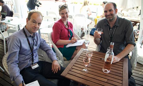 Peter Bradshaw, Charlotte Higgins and Xan Brooks in the UK pavilion at the 2013 Cannes film festival