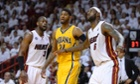 Indiana Pacers' Paul George vs Miami Heat's Dwyane Wade and LeBron James