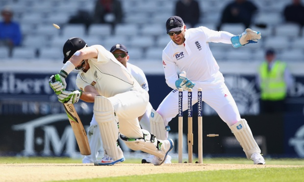 England's wicketkeeper, Matt Prior, celebrates after Martin Guptill of New Zealand was bowled by Graeme Swann.