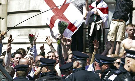 English Defence League supporters protest against Islam after the murder of Lee Rigby in Woolwich