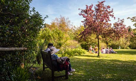 Visitors enjoy the bank holiday sunshine at Highdown Gardens in Worthing