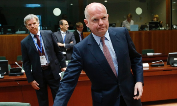 William Hague, the British foreign secretary, at the meeting of EU foreign ministers in Brussels that agreed to drop the arms embargo against Syrian rebels.