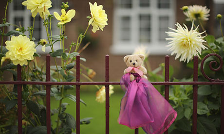 Pink ribbon and teddy bear in Machynlleth during the search for April Jones on 8 October 2012