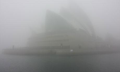 Fog envelopes the Sydney opera house