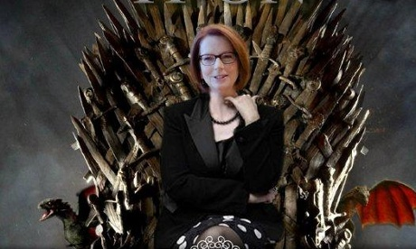 Julia Gillard sitting on the iron throne