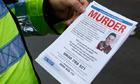 Police officer with a leaflet on Rigby murder