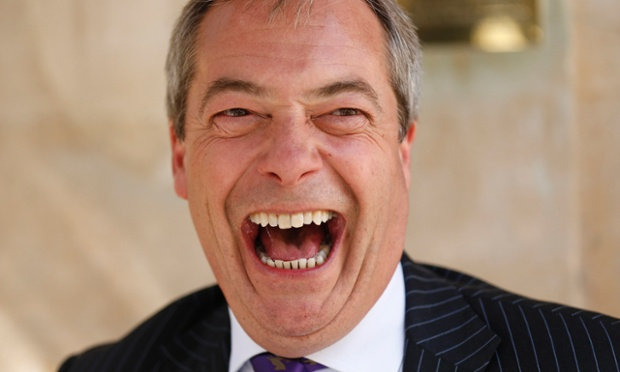 Ukip leader Nigel Farage celebrates