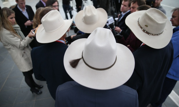 All Hat, Hungry Cattle, Bob Katter with a delegation from the beef crisis committee talking to the media outside Parliament House in Canberra.
