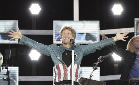 Jon Bon Jovi performs on stage at Munich Olympiastadion on May 18, 2013 in Munich, Germany.