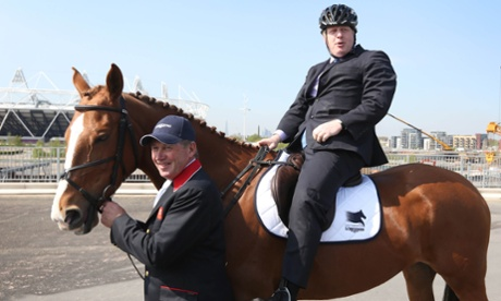 Olympic Gold medalist Nick Skelton and Major of London Boris Johnson at the launch of the Longines Global Champions Tour, an international show jumping event that will take place in The International Quarter adjacent to Queen Elizabeth Olympic Park in east London.