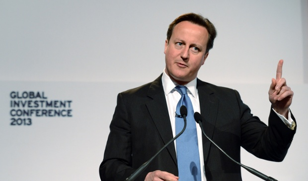 British Prime Minister David Cameron addresses the Global Investment Conference in London on May 9, 2013. Cameron lashed out at 
