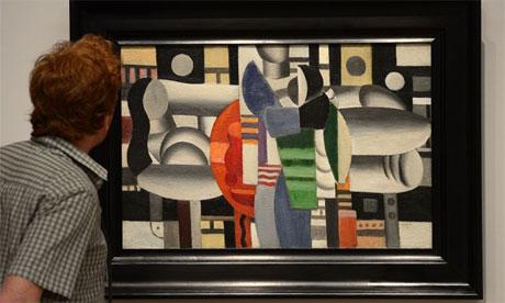 Trois femmes a la table rouge by Fernand Leger