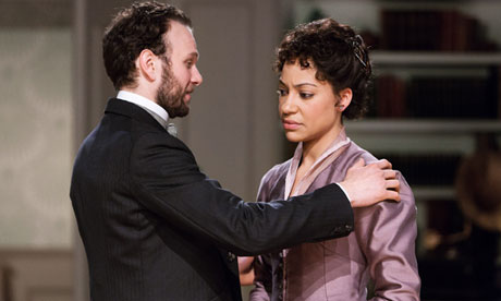 David Sturzaker as Torvald and Cush Jumbo as Nora Helmer in A Doll's House