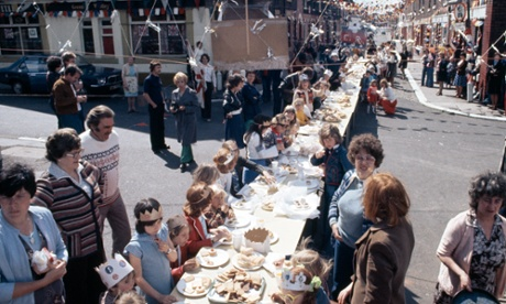 A silver jubilee street party in Salford, Greater Manchester, in 1977.