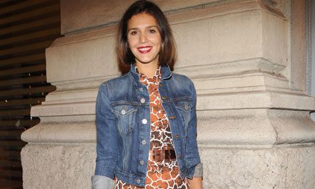Margherita Missoni wears a denim jacket