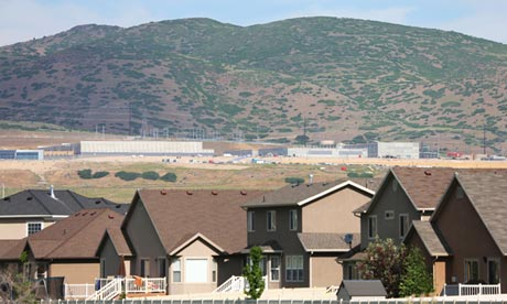 A new NSA data centre sits beyond a residential area in Bluffdale, Utah