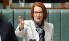 Prime minister Julia Gillard speaking during question time.