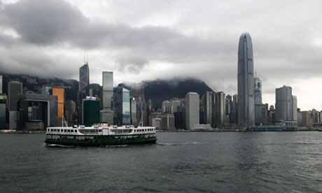 A ferry sails across Victoria Harbour in Hong Kong