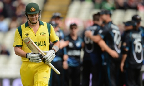Shane Watson leaves the field after being dismissed.