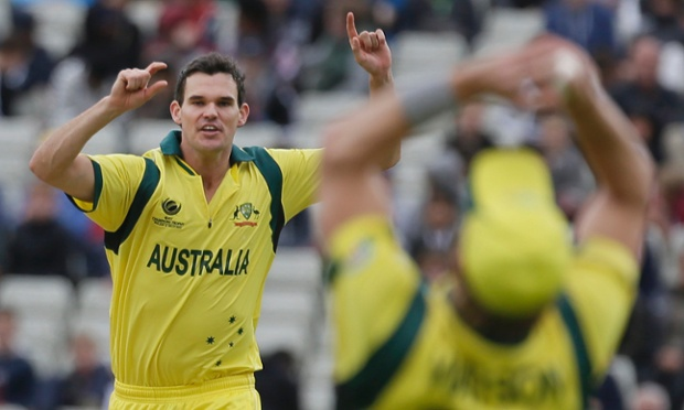 The Australia bowler Clint McKay, left, raises his arms to celebrate as Shane Watson takes a catch to dismiss New Zealand's Luke Ronchi during their ICC Trophy match at Edgbaston.