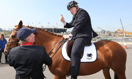 Boris Johnson on horseback at the Olympic Park
