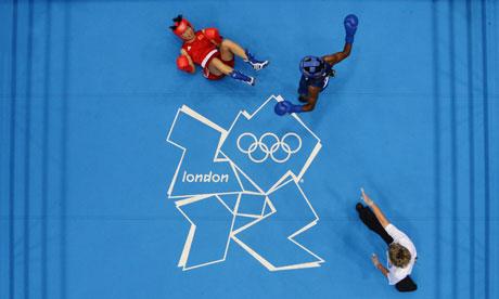 Nicola Adams knocks down Cancan Ren, London Olympics 9/8/12