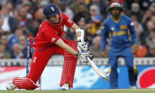 England's Joe Root scoops the ball over Lasith Malinga.