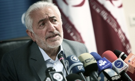Iranian presidential candidate Mohammad Qarazi speaks during a press conference in Tehran earlier this month.