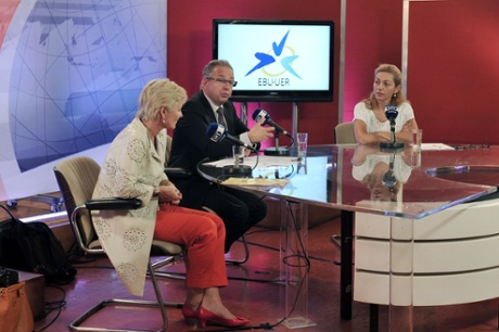 Jean-Paul Philippot, president of the EBU , the  European Broadcasting Union (C) , EBU'S general director, Ingrid Deltenre(L) and ERT journalist, Ondin Linardatou take part in a live broadcast at the ERT headquarters in Athens on June 14, 2013.  EBU asked  Greece to re-open public broadcaster ERT after the government's surprise decision to pull it off the air in a bid to cut spending sparked a nationwide strike.
