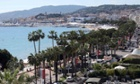 The Croisette and the bay of Cannes.