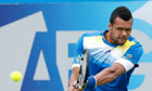 Jo-Wilfried Tsonga plays at Queen's Club