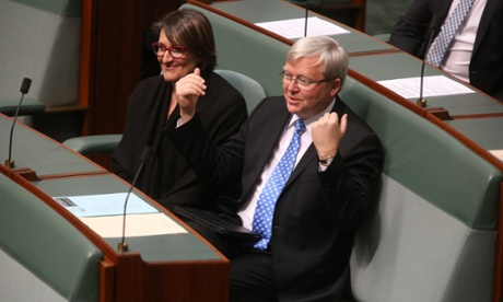 Kevin Rudd during a division in the House of Representatives. The Global Mail.