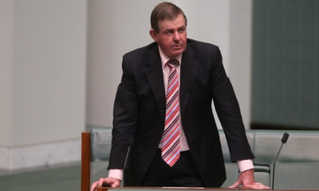 Playing it safe the former speaker Peter Slipper has most colours covered with his tie. The Global Mail.