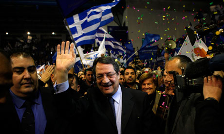 Nicos Anastasiades at a rally in Cyprus in February