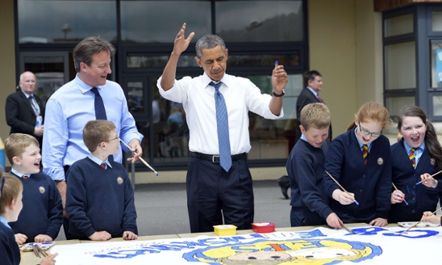 Barack Obama and David Cameron at Enniskillen Integrated Primary Schoo on 17 June 2013.