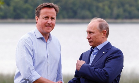 Cameron welcomes Russia's President Vladimir Putin.