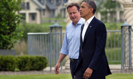 Cameron welcomes President Barack Obama.