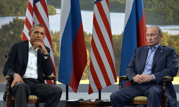 US President Barack Obama holding a bilateral meeting with Russian President Vladimir Putin during the G8 summit at the Lough Erne resort last night.