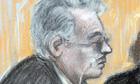 Court artist sketch of Ian Brady at mental health tribunal hearing
