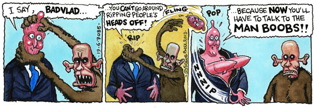 Steve Bell's If ... on the Cameron-Putin G8 face-off