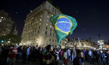 Brazilians gather at the city hall in São Paulo